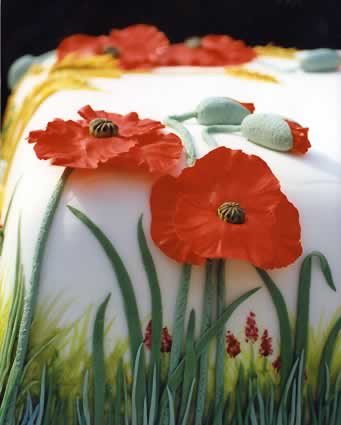 Detail of cake with poppies